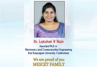 CONGRATULATIONS Dr. LAKSHMI R NAIR, ASST. PROF(ECE)